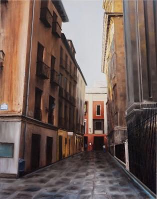 Atardece en La Catedral - Óleo sobre madera 89x116 cm.