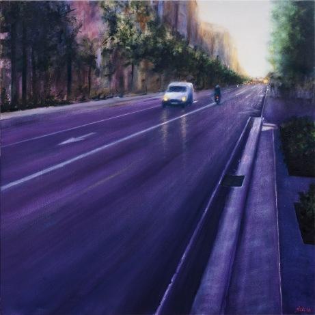 Violetas en La Gran Vía - Óleo sobre lienzo 120x120 cm.