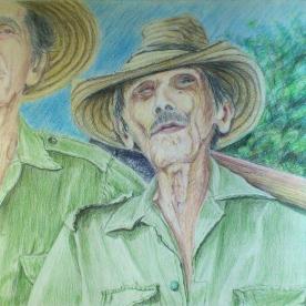 Dos tipos anónimos - Lápices de color 32x24 cm.