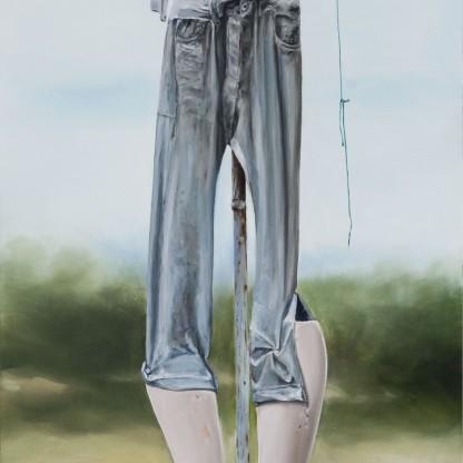 """El espantapájaros - Óleo sobre madera 80x200 cm. Obra preseleccionada para el Concurso Internacional de Pintura """"Figurativas 19"""""""