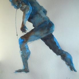Figura en azules - Acuarela 38,5x57 cm.