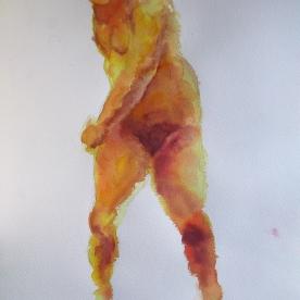 Figura en naranjas - Acuarela 38,5x57 cm.