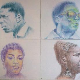 J.Coltrane/M.Davis/S.Vaughan/N.Simone - Lápices de color 28x21 cm.