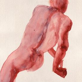 Figura en rojo - Acuarela 24x32 cm.