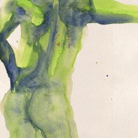 Figura en verdes - Acuarela 24x32 cm.