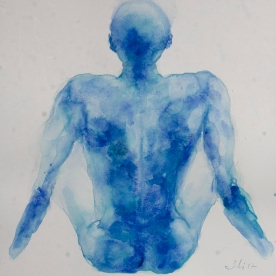 Figura en azules - Acuarela 32x46 cm.