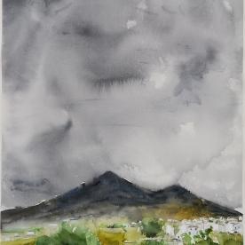 Nublados en la Sierra de Rute - Acuarela 57x77 cm.