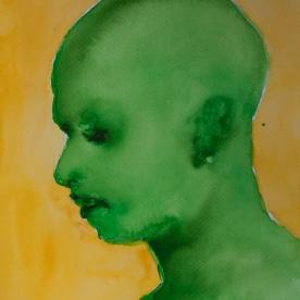 Expresión Amarillo-Verde - Acuarela 32x46 cm.