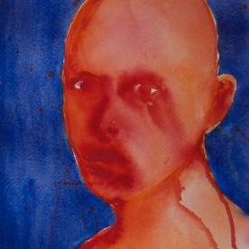 Expresión Rojo-Azul - Acuarela 32x46 cm.