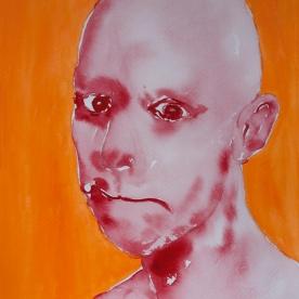 Expresión Naranja-Rojo - Acuarela 32x46 cm.