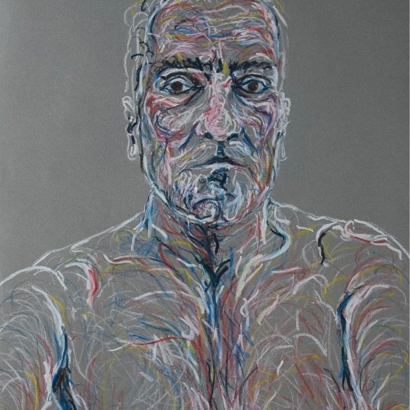 Selfie gris - Pastel graso 50x70 cm