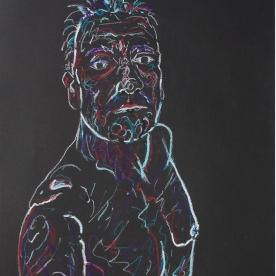 Selfie negro - Pastel graso 50x70 cm