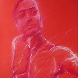 Selfie rojo - Pastel graso 50x70 cm