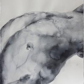 Figura masculino grises 2 - Acuarela 77x57 cm