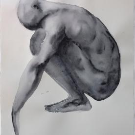 Figura masculino grises 1 - Acuarela 57x77 cm