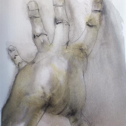 Mi mano - Tinta china y café - 24x32 cm.